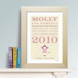 Personalised New Baby Print - Fairy